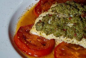 Culinary CPR: Castelvetrano Olive Tapenade Crusted Chilean Sea Bass with Yellow, Red & Orange Cherry Tomato Escabeche