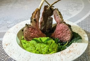 Culinary CPR: Springtime Rack of Lamb with Minted Pea Puree & Pea Shoot Salad