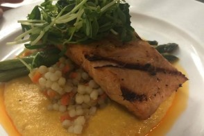 Culinary CPR: Grilled Faroe Island Salmon with Yellow Pepper & Tomato Romesco